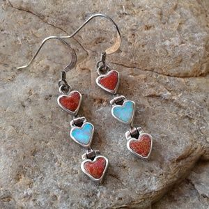 Sterling Silver Heart coral and opal earrings